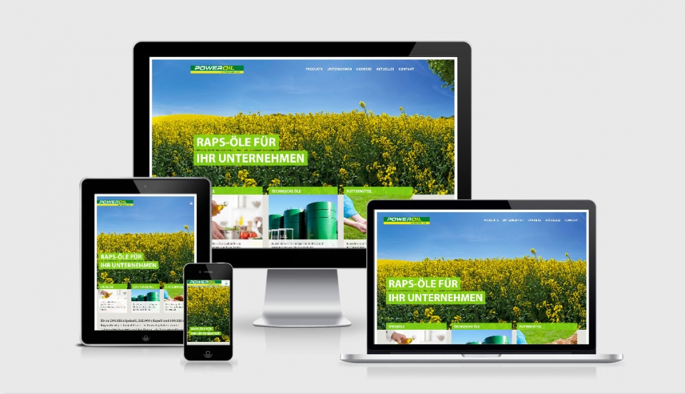 Webdesign der Power Oil